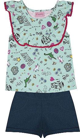 Conjunto com Blusa em Meia Malha Estampada e Shorts em Chambray Verde