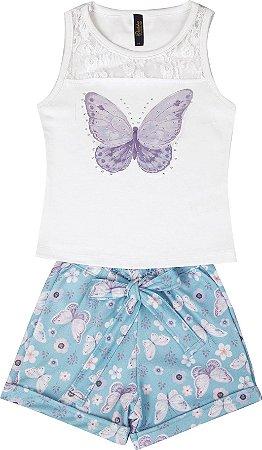 Conjunto com Regata em Cotton com Aplique e Shorts Crepe Branco