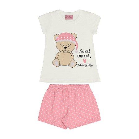 Conjunto Pijama Blusa e Shorts Ursinho Bege