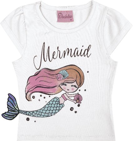 Blusa Infantil Menina Mermaid Branco
