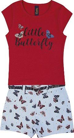 Conjunto com Blusa em Cotton Little Butterfly e Shorts Estampado com Cinto Vermelho