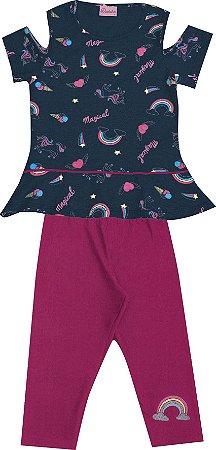 Conjunto com Blusa Estampada com Detalhe nas Mangas e Capri em Cotton Azul