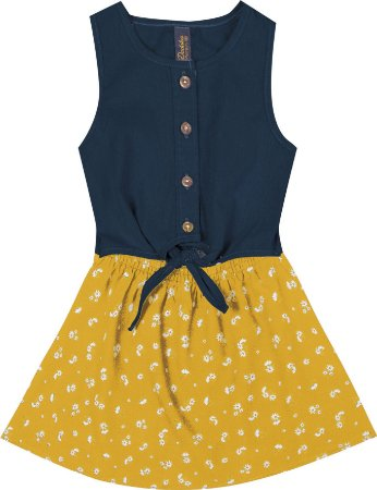 Vestido com Amarração e Saia Estampada Amarelo