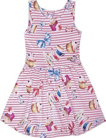 Vestido Infantil Menina Laços Rosa