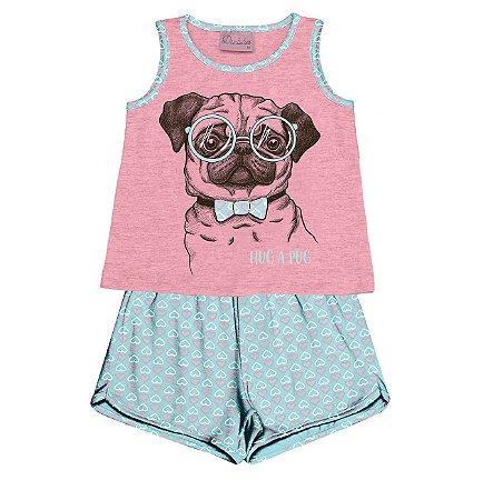 Conjunto Pijama Blusa com Shorts Rosa