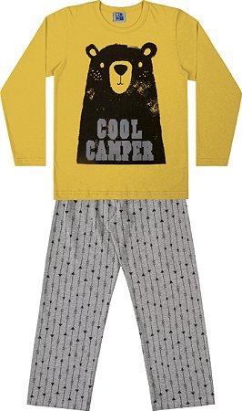 Conjunto Pijama Camisa Urso e Calça Amarelo