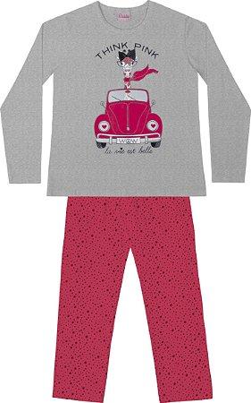 Conjunto Pijama Blusa Girafa Calça Bolinha Mescla