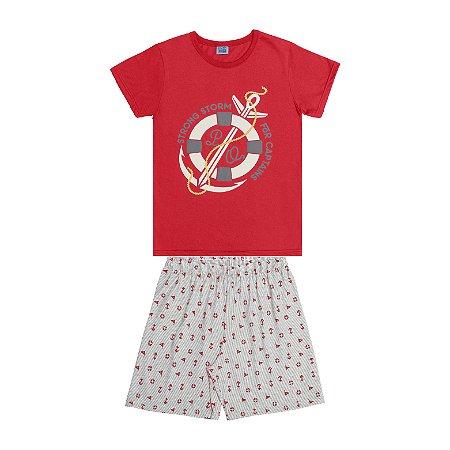 Conjunto Pijama Camisa Ancora e Bermuda Vermelho