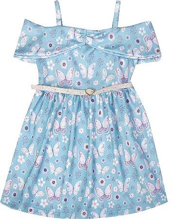Vestido Infantil Menina Borboletas Azul