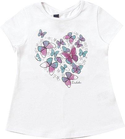 Blusa Infantil Menina Borboletas Branco