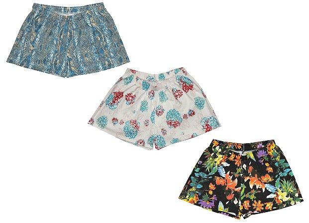 Kit 3 Shorts Abstrato Flores