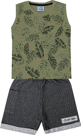 Conjunto Machão Folhas Bermuda Moletom Verde