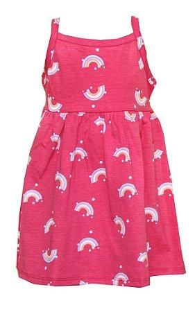 Vestido de Alça com Estampa Rotativa Arco-Íris Rosa