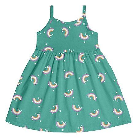 Vestido Infantil Menina Arco-Íris Verde