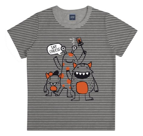 Camiseta Estampada com Listras Mescla