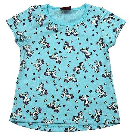 Blusa Mullet Estampada Azul com Unicórnios