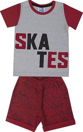 Conjunto de Camiseta Skates Bermuda Moletom Soft Estampado Mescla