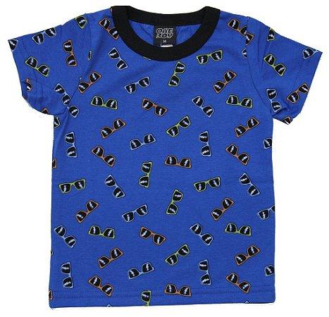 Camiseta em Meia Malha Estampada Azul