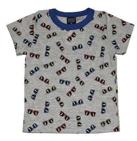 Camiseta em Meia Malha Estampada Cinza