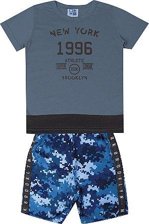 Conjunto de Camiseta em Meia Malha Penteada Bermuda em Microfibra Rotativa Azul