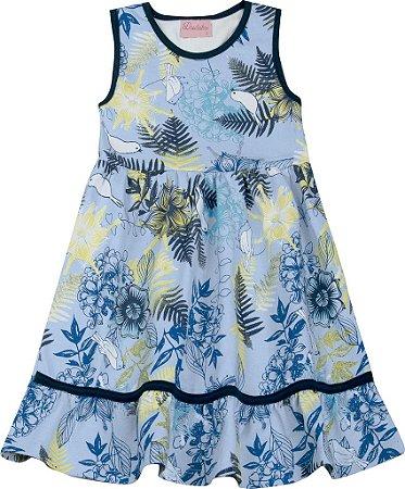 Vestido Infantil Menina Folhas Azul