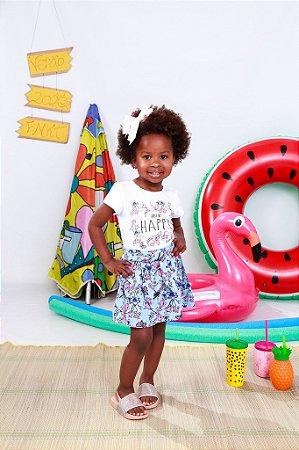 Cojunto Infantil Menina Happy Branco