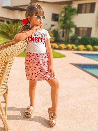 Conjunto Infantil Menina Cereja Branco