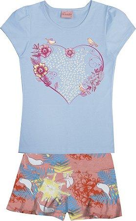 Conjunto Blusa Coração e Saia Shorts com Babado Azul