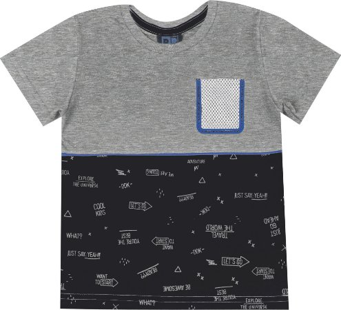 Camiseta Infantil Menino com Bolso Mescla