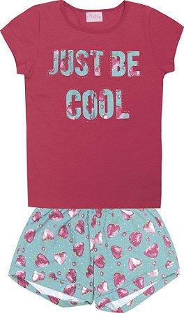 Conjunto Blusa Just Be Cool e Shorts Estampado Rosa