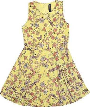Vestido Infantil Menina Borboletas Amarelo