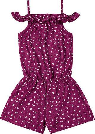 Macaquinho em PV Jeans Rotativo Rosa