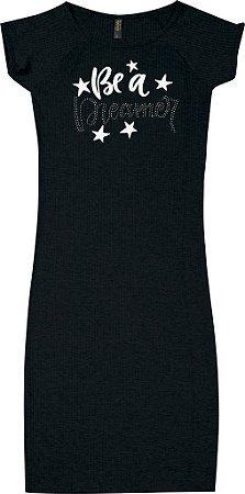 Vestido Juvenil Menina Estrela Preto