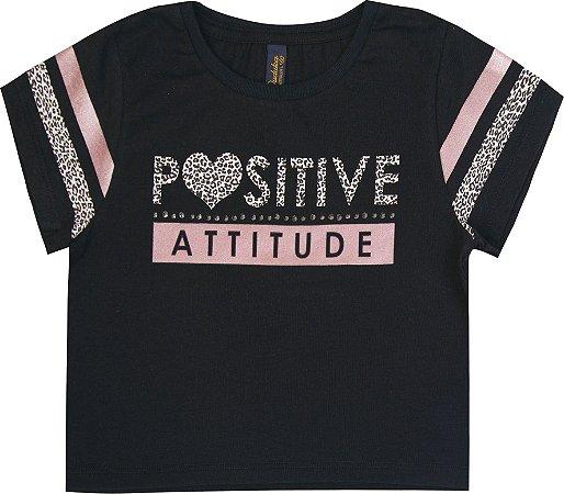 Blusa Infantil Menina Positive Preto