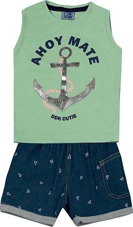 Conjunto Machão Estampada Âncora e Bermuda Jeans Verde
