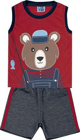 Conjunto Machão com Estampa Urso e Bermuda Moletom Jeans Vermelho