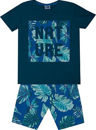 Conjunto Machão com Estampa Nature e Bermuda Tactel com Estampa Azul