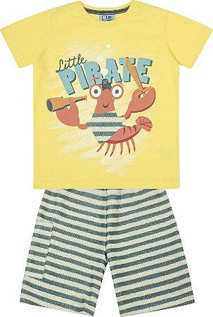 Conjunto Camiseta Estampada Lagosta Pirata com Bermuda em Moletom Listrado Amarelo