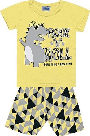Conjunto Camiseta Estampada e Bermuda Tactel Rock Dinossauro Amarelo