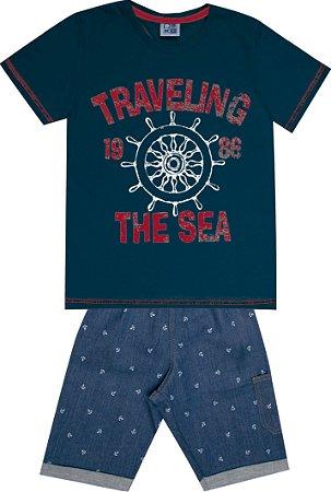 Conjunto Camiseta Estampada Traveling com Estampa e Bermuda Jeans Azul