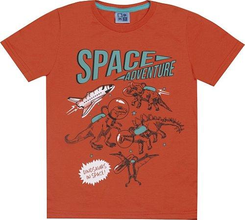 Camiseta em Meia Malha Penteada com Estampa Space Laranja