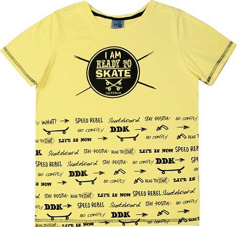 Camiseta Juvenil Menino Skate Amarelo