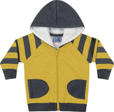 Jaqueta em Moletom Soft Peluciado com Capuz Amarelo