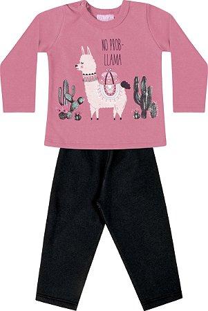 Conjunto Blusão em Moletom Soft Peluciado Calça de Moletom Rosa