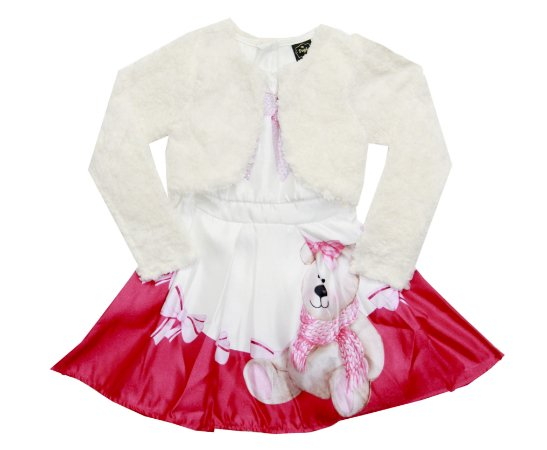 Vestido Infantil Menina Ursinho Bege