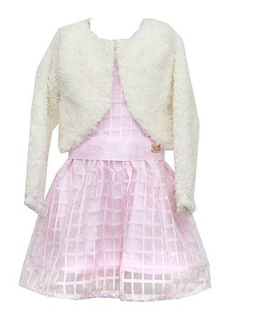 Vestido Infantil Menina Festa com Bolero Rosa