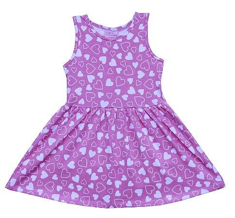 Vestido Infantil Menina Corações Rosa