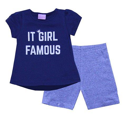 Conjunto de Blusa e Shorts Ciclista Azul