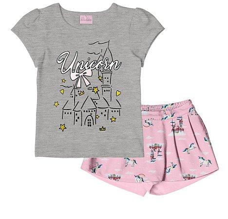 Conjunto de Blusa Estampa Glitter e Shorts em Cotton Mescla