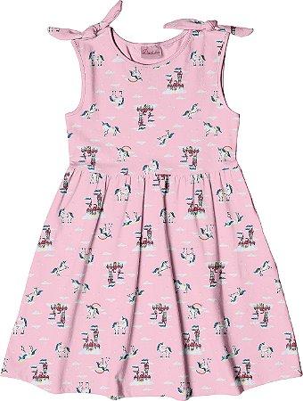 Vestido Infantil Menina Castelo Rosa